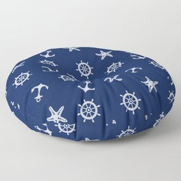 Navy Blue Nautical Pattern Floor Pillow