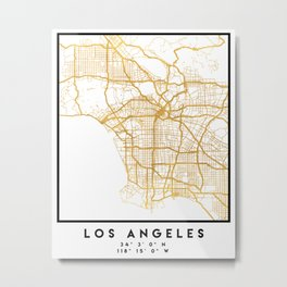 LOS ANGELES CALIFORNIA CITY STREET MAP ART Metal Print