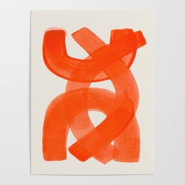 Mid Century Modern Abstract Painting Orange Watercolor Brush Strokes Poster