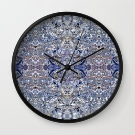 Abstract Kaleidoscope Blue Mineral Crystal Texture Wall Clock