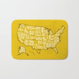 Map USA vintage yellow Bath Mat
