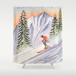 Skiing The Aspen Colorado Slopes Shower Curtain