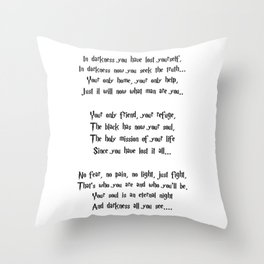 The poem of the night Throw Pillow