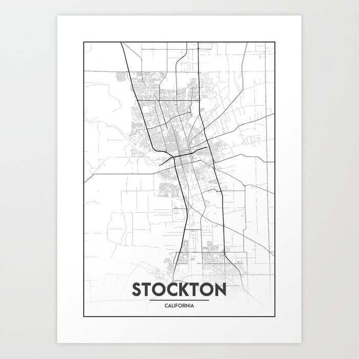 Minimal City Maps - Map Of Stockton, California, United States Art Print by  valsymot