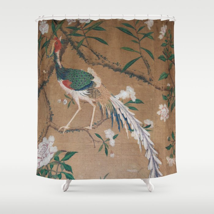 Antique French Chinoiserie In Tan White Shower Curtain