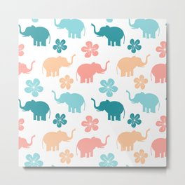 cute colorful pattern with elephants and flowers Metal Print