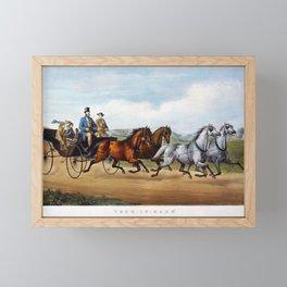 Four In Hand Vintage Horse Driving Image Framed Mini Art Print