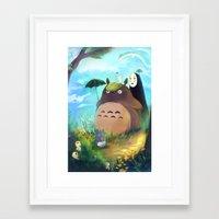 studio ghibli Framed Art Prints featuring Ghibli by Bianca Bautista