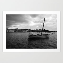 Lonely sailing boat in Cadaques Spain Art Print
