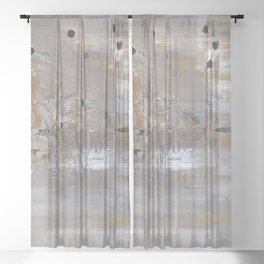 Silver and Gold Abstract Sheer Curtain