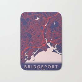 Bridgeport, CT, USA, Blue, White, City, Map Bath Mat