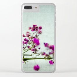 pink florets branch Clear iPhone Case