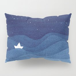 blue ocean waves, sailboat ocean stars Pillow Sham