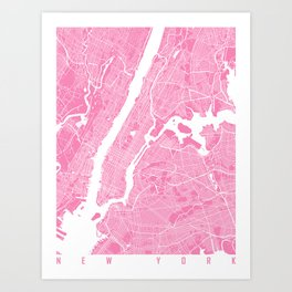 New York map pink Art Print
