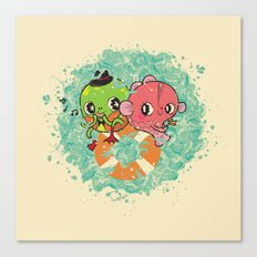 The Pond Lovers - Mr. Froggy and Ms Goldfish Canvas Print