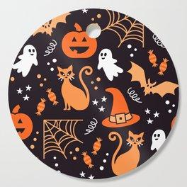 Halloween party illustrations orange, black Cutting Board