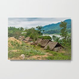 Tribal Village on the Mekong River, Laos. Metal Print