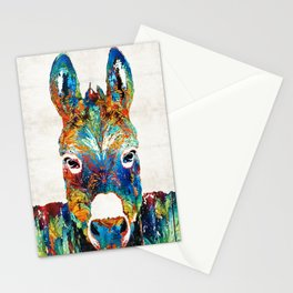 Colorful Donkey Art - Mr. Personality - By Sharon Cummings Stationery Cards