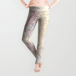 Old 1864 Historic State of Palestine Map Leggings