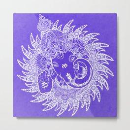 Ganesha Lineart Lilac White Metal Print
