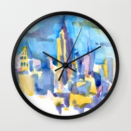 blue icing, print or original watercolor painting by Jessie Novik from rooftop view overlooking NYC Wall Clock