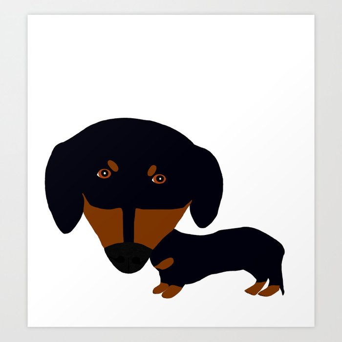 Dachshund (black and tan) Art Print