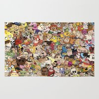 cartoon Area & Throw Rugs featuring Cartoon Collage by Myles Hunt