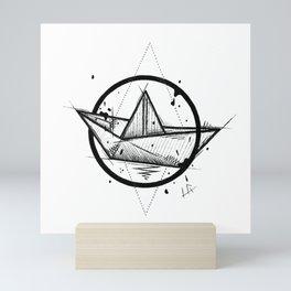Paper Boat Handmade Drawing, Made in pencil and ink, Tattoo Sketch, Tattoo Flash, Blackwork Mini Art Print