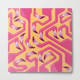 Flamingo Maze Metal Print