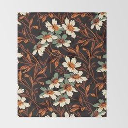 White gothic flowers Throw Blanket
