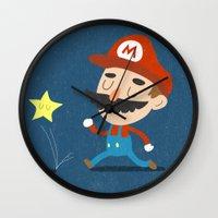 mario Wall Clocks featuring Mario by Rod Perich