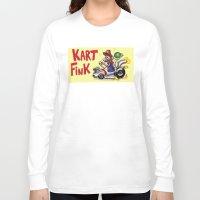mario kart Long Sleeve T-shirts featuring Kart Fink Big Bro! by Avedon Arcade