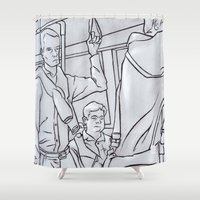 "subway Shower Curtains featuring SUBWAY 1 by ""dfrnt"""