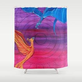 Everlasting Love - Dragon and Phoenix Shower Curtain