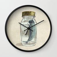 gold Wall Clocks featuring Extinction by Terry Fan