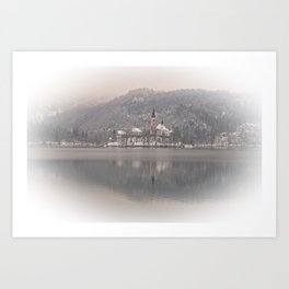Wintry Bled Island Art Print