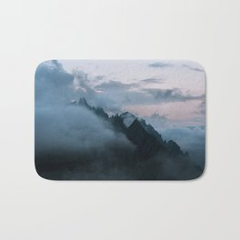 Dolomite Mountains Sunset covered in Clouds - Landscape Photography Bath Mat