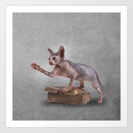 Drawing Sphynx kitten, hairless Art Print