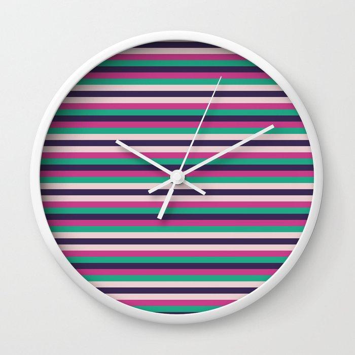 Pink green purple geometrical stripes pattern Wall Clock