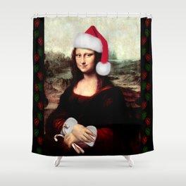 Mona Lisa Wearing a Santa Hat Shower Curtain