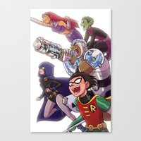 teen titans Canvas Prints featuring Teen Titans by Kelly Kao