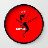 taurus Wall Clocks featuring Taurus by Ezidras Farinazzo Lacerda Filho