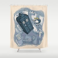 hallion Shower Curtains featuring Falling by Karen Hallion Illustrations