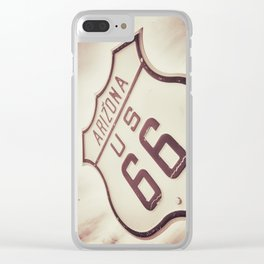 Historic route 66 sign in Arizona. Clear iPhone Case