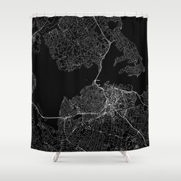 Auckland Black Map Shower Curtain