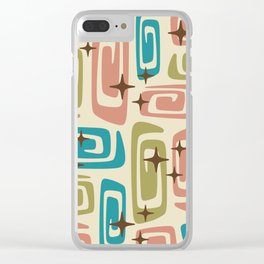 Mid Century Modern Cosmic Galaxies 436 Olive Blue and Dusty Rose Clear iPhone Case