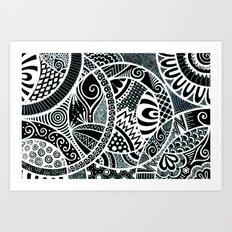 White tangled circles Art Print