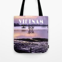 vietnam Tote Bags featuring MEKONGDELTA - VIETNAM  by CAPTAINSILVA