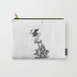 Great Britain Map Print Abstract in Camouflage Black and White - A great talking piece for the home! Carry-All Pouch