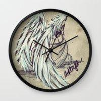 angel wings Wall Clocks featuring Angel Wings by Buttercream Art